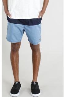 Short Masculino Bicolor Com Cordão Azul Claro