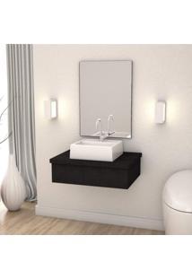 Conjunto Para Banheiro Gabinete Com Cuba Q32 600W Metrópole Compace Preto Onix