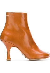 Mm6 Maison Margiela Ankle Boot De Couro - Marrom