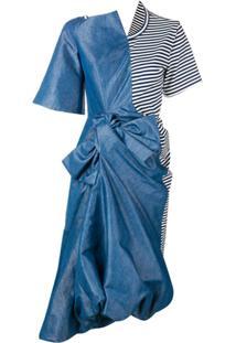 Junya Watanabe Vestido Midi Assimétrico - Azul