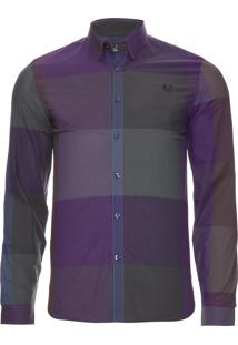 Camisa Masculina Enlarged Gingham - Roxo