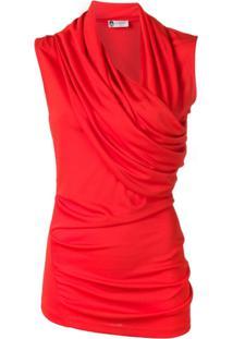 Lanvin Blusa Com Transpasse E Franzido - Vermelho