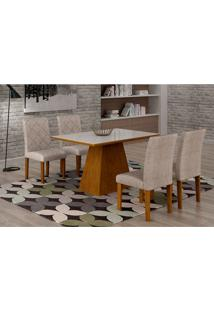 Conjunto De Mesa De Jantar Luna Com Vidro E 4 Cadeiras Ane I Suede Branco E Chocolate