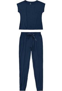 Pijama Azul Marinho Jogging Em Viscose