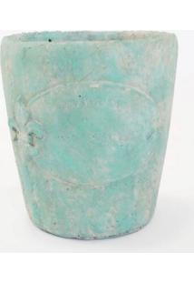 Vaso De Ceramica Verde Cintilante C/ Detalhes Flor De Lis