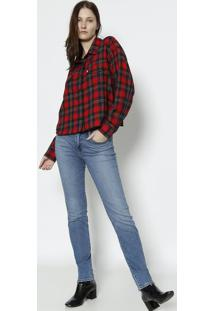 Camisa Xadrez Com Bolsos- Vermelha & Pretalevis