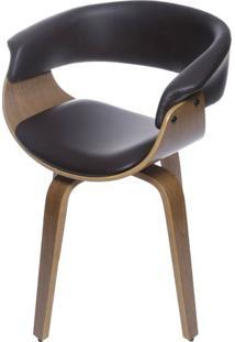 Cadeira Escandi Courino Cafe Com Base Madeira - 53497 - Sun House