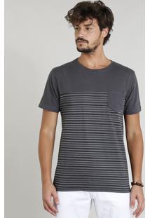 Camiseta Masculina Com Recorte E Bolso Manga Curta Gola Careca Chumbo