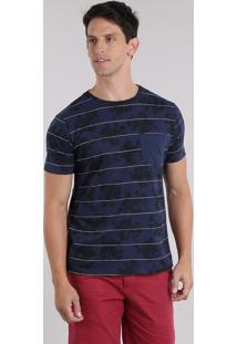 Camiseta Listrada Com Bolso E Estampa Floral Azul Marinho