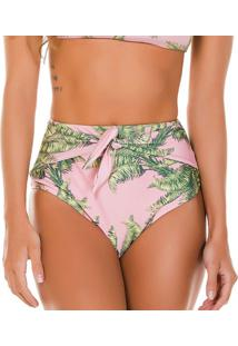 Calcinha Hot Pant Floral- Rosa Claro & Verde- Use Fluse Flee