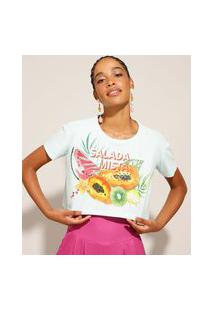 """Camiseta De Algodão Cropped Salada Mista"""" Manga Curta Verde Claro"""""""
