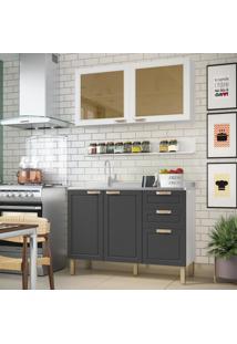 Cozinha Completa 3 Peã§As Americana Multimã³Veis 5921 Branco/Grafite - Branco/Incolor - Dafiti