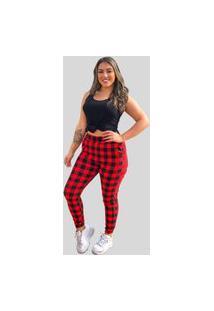 Calça Jogger Feminina Fec Fashion Bomber Xadrez Vermelha