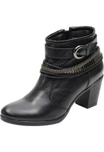 Bota Cano Curto De Couro Atron Shoes Preta