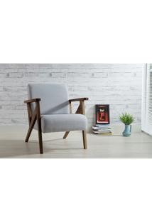 Poltrona De Madeira Decorativa Cinza Claro - Poltrona Confortável Para Sala E Quarto - Verniz Capuccino \ Tec.915 - Anis 72X76X85 Cm