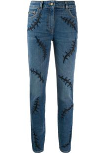 Moschino Embroidered Detail Skinny Jeans - Azul