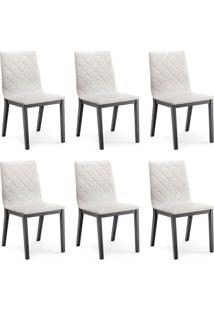 Conjunto Com 6 Cadeiras De Jantar Bogor Ebanizado E Cinza Escuro