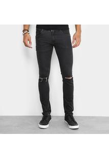 Calça Jeans Skinny Sawary Black Elastano Rasgo Joelho Masculina - Masculino