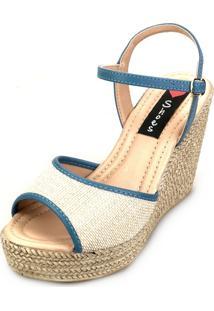 Sandália Love Shoes Alta Espadrille Tira Juta Azul