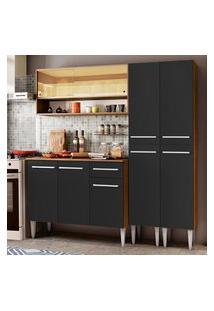 Cozinha Compacta Madesa Emilly Winter Com Armário Vidro Reflex E Balcáo - Rustic/Preto Marrom