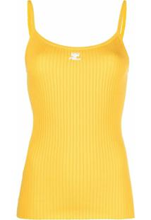 Courrèges Blusa Com Estampa De Logo De Tricô Canelada - Amarelo