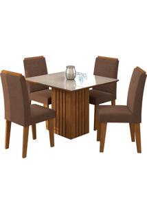 Conjunto De 4 Cadeiras Para Sala De Jantar 95X95 Ana/Tais -Cimol - Savana / Off White / Chocolate