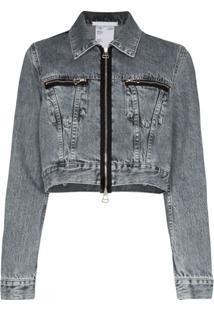 Helmut Lang Zipped Cropped Denim Jacket - Cinza
