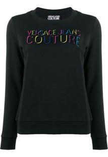 Versace Jeans Couture Blusa De Moletom Com Logo Em Relevo - Preto