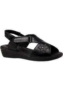 Sandália Doctor Shoes Couro Feminina - Feminino-Preto