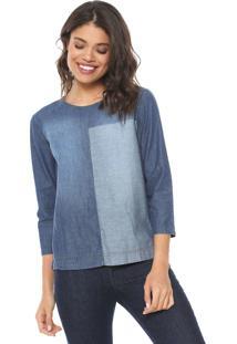 Blusa Jeans Colcci Recortes Azul