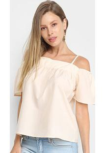 Blusa Allexia Open Shoulder Feminina - Feminino-Bege