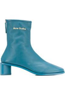 Acne Studios Bota De Couro Com Estampa De Logo - Azul