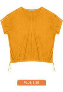 Blusa Plus Size Canelada Secret Glam Amarelo