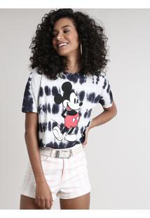 Blusa Feminina Mickey Cropped Estampada Tie Dye Manga Curta Decote Redondo Off White
