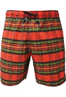 Shorts Elástico Alkary Xadrez Vermelha.
