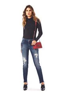 Calca Skinny Andreia Cos Intermediario Com Metal Jeans