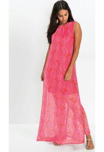 Vestido Longo Amplo Estampado Vermelho E Rosa