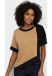 Blusa Acostamento Assimétrica Bicolor Feminina - Feminino-Areia