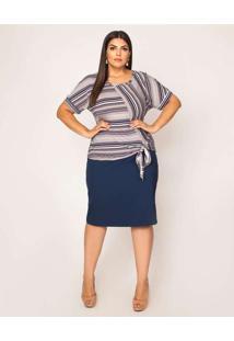 Blusa Almaria Plus Size Pianeta Azul