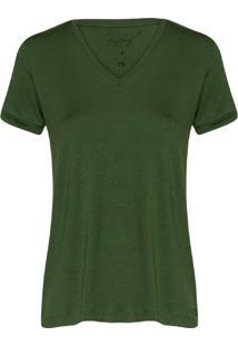 Camiseta Feminina Decote V Essencial Militar