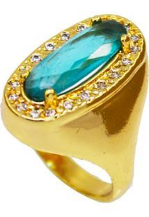 Anel Cristal Turquesa Banhado A Ouro 18K
