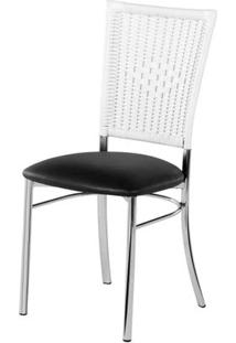 Cadeira Assento Korino Preto Enc. Junco Branco 12285 - Sun House