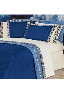 Jogo De Cama Monte Carlo Azul King 04 Peças - 80% Algodão