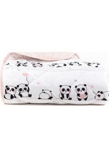 Edredom Bebê Santista Berço Panda Rosa