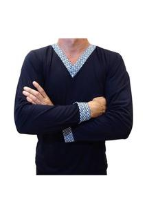 Pijama Masculino Longo Blusa E Calça Comprida Com Detalhe Estampado - Azul Marinho