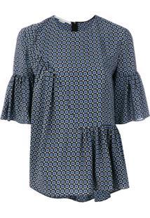 Stella Mccartney Blusa Estampada De Seda Com Franzidos - Azul