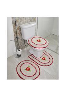 Jogo De Banheiro Crochê Bordado Inglês Produzido Artesanalmente Vermelho - Bene Casa