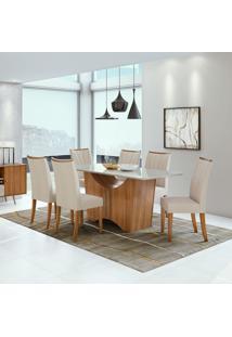Conjunto De Mesa De Jantar Rock Com 6 Cadeiras Apogeu Linho Off White E Bege