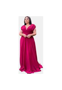 Vestido De Madrinha Longo Busto Transpassado Tnm Collection Pink Strong Tamanhos Plus Size