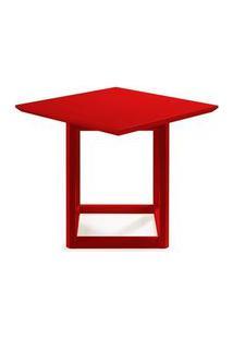 Mesa Lateral Alta Square Vermelha 48Cm - 60934 Vermelho